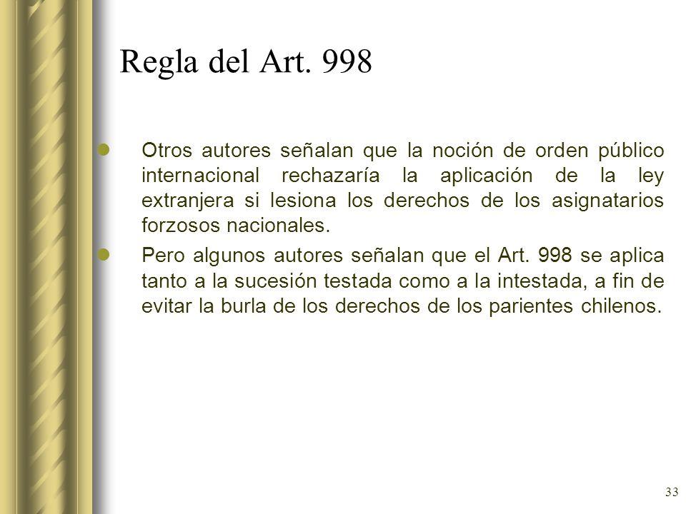 Regla del Art. 998