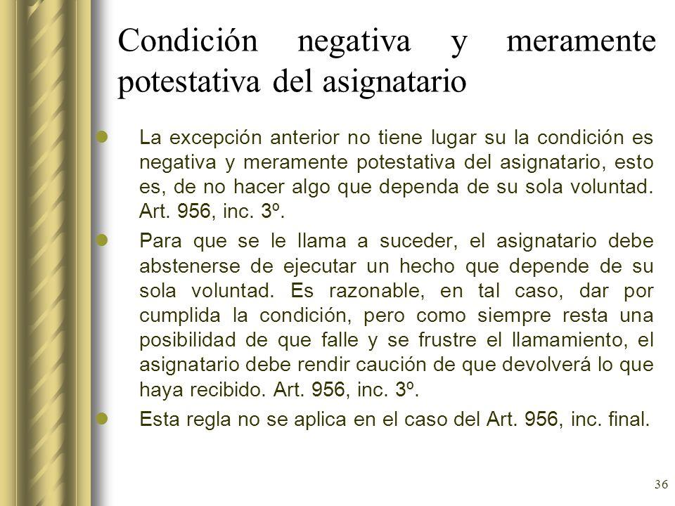 Condición negativa y meramente potestativa del asignatario