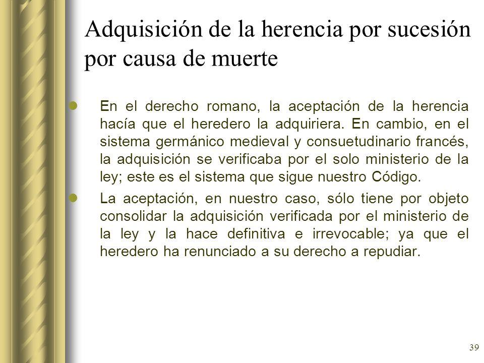 Adquisición de la herencia por sucesión por causa de muerte