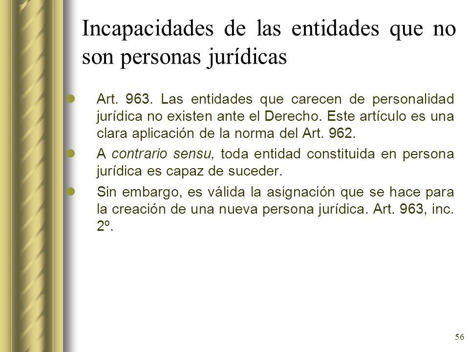 Incapacidades de las entidades que no son personas jurídicas
