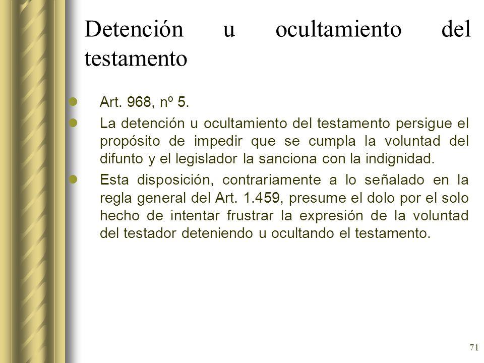 Detención u ocultamiento del testamento