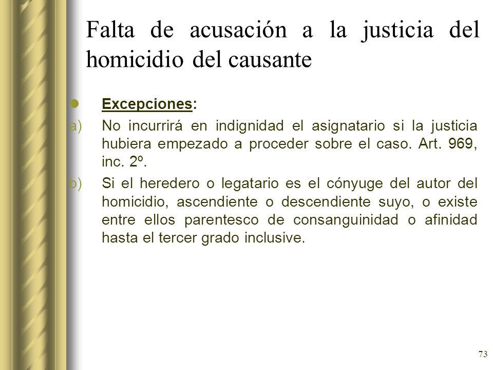 Falta de acusación a la justicia del homicidio del causante