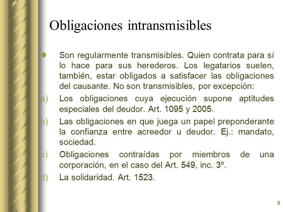 Obligaciones intransmisibles