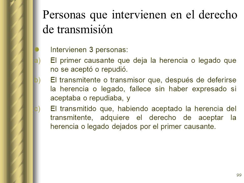 Personas que intervienen en el derecho de transmisión