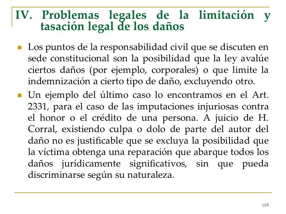 IV. Problemas legales de la limitación y tasación legal de los daños