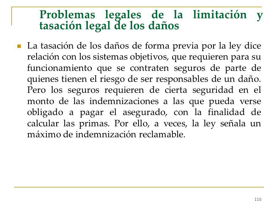 Problemas legales de la limitación y tasación legal de los daños
