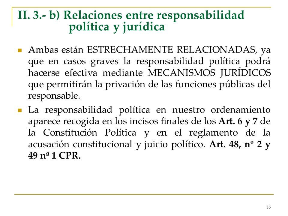 II. 3.- b) Relaciones entre responsabilidad política y jurídica