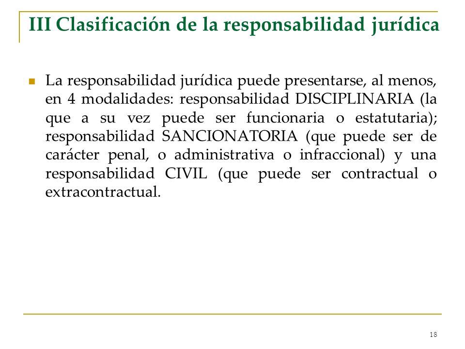 III Clasificación de la responsabilidad jurídica