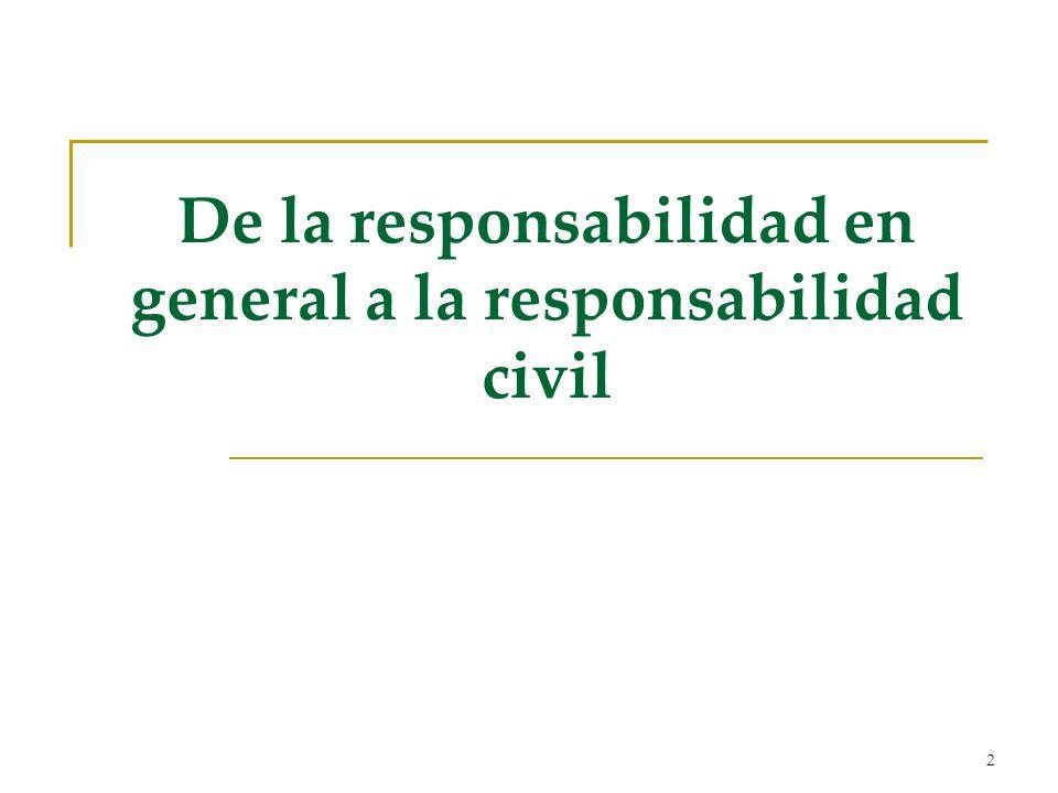 De la responsabilidad en general a la responsabilidad civil