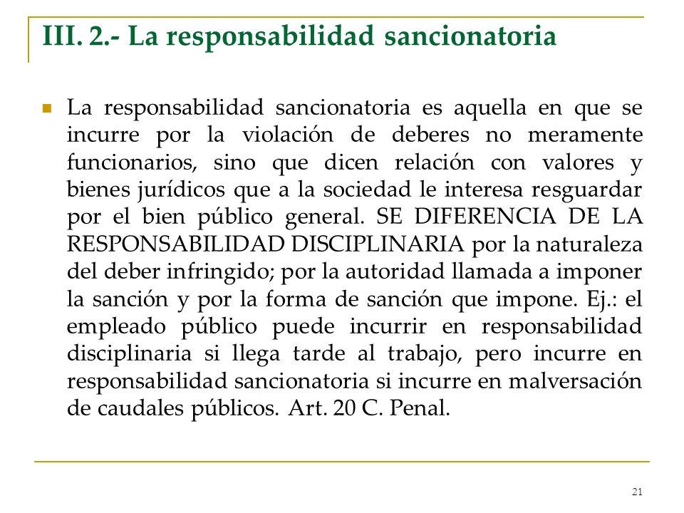 III. 2.- La responsabilidad sancionatoria