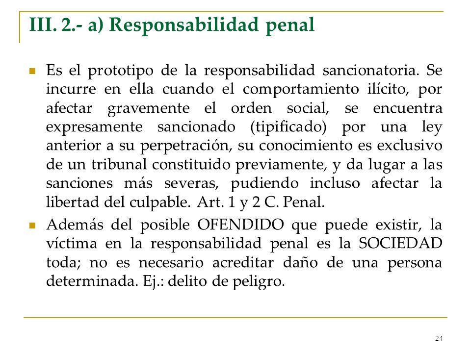 III. 2.- a) Responsabilidad penal