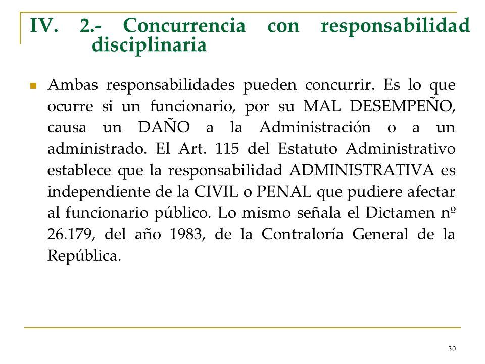 IV. 2.- Concurrencia con responsabilidad disciplinaria