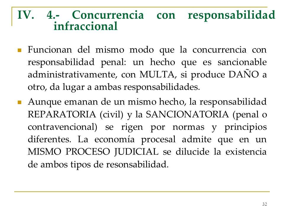 IV. 4.- Concurrencia con responsabilidad infraccional