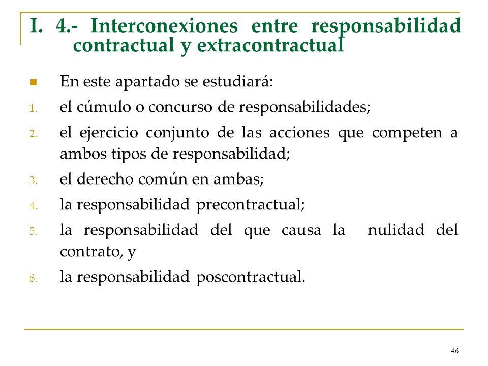 I. 4.- Interconexiones entre responsabilidad contractual y extracontractual