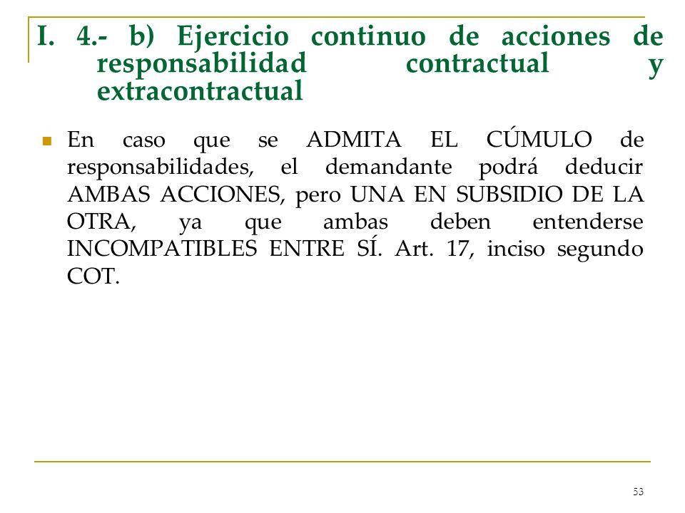I. 4.- b) Ejercicio continuo de acciones de responsabilidad contractual y extracontractual