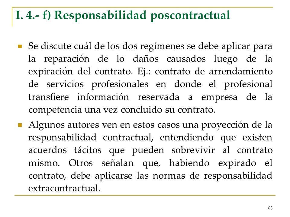 I. 4.- f) Responsabilidad poscontractual