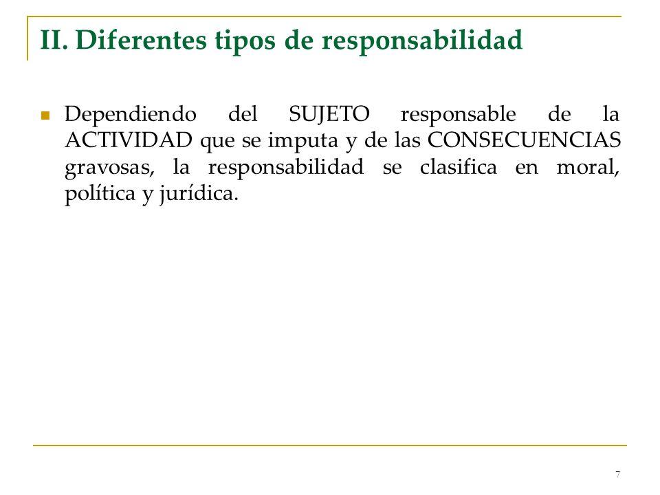 II. Diferentes tipos de responsabilidad