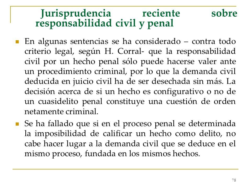 Jurisprudencia reciente sobre responsabilidad civil y penal