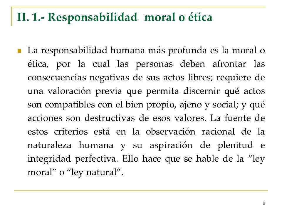 II. 1.- Responsabilidad moral o ética