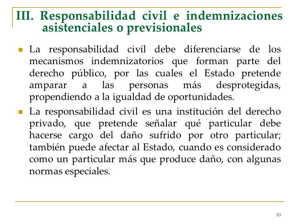 III. Responsabilidad civil e indemnizaciones asistenciales o previsionales