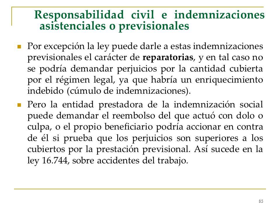Responsabilidad civil e indemnizaciones asistenciales o previsionales