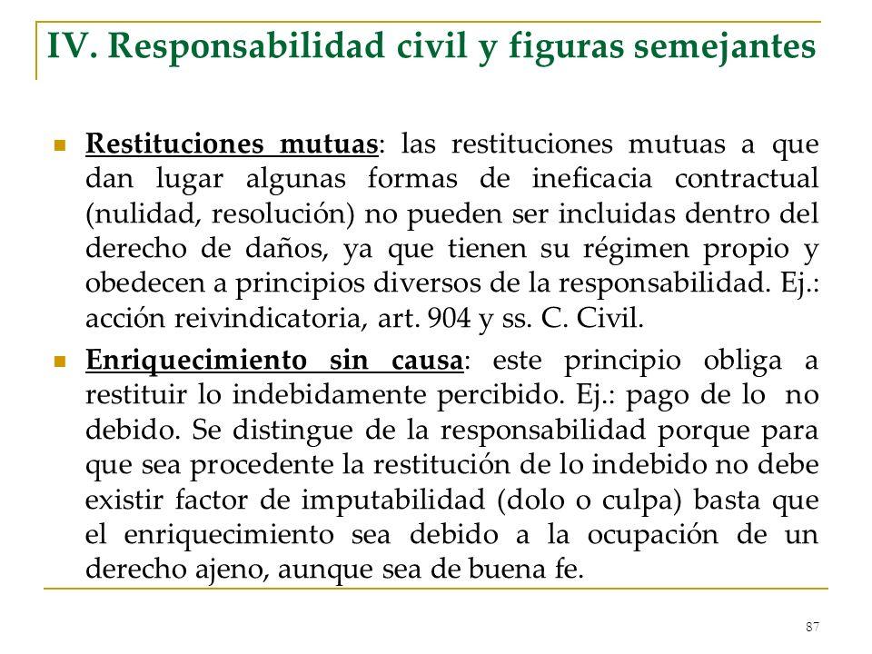 IV. Responsabilidad civil y figuras semejantes