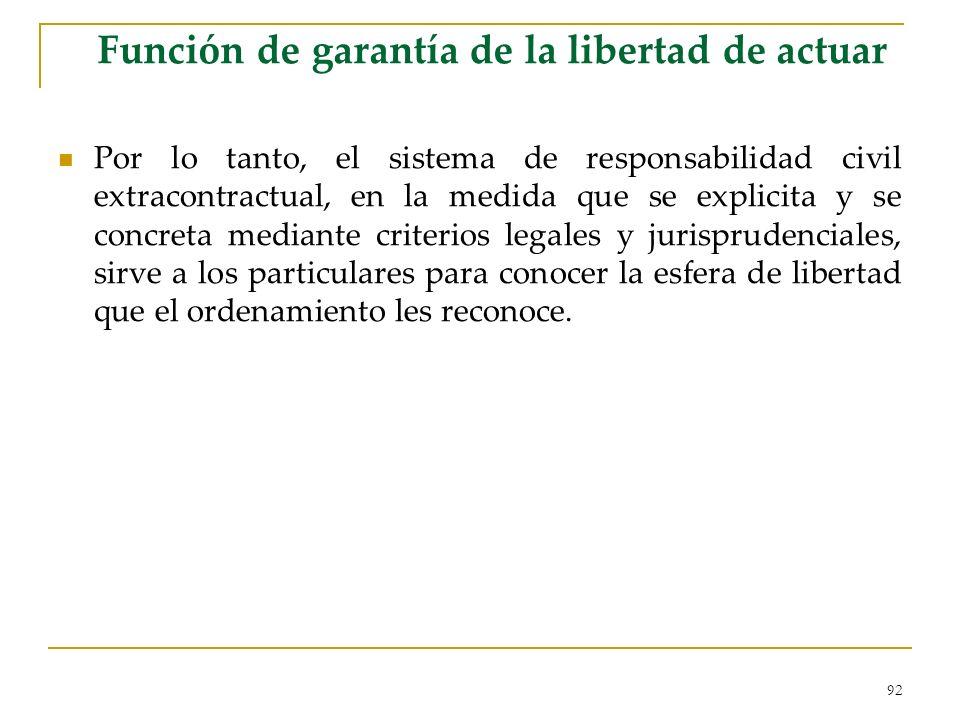 Función de garantía de la libertad de actuar