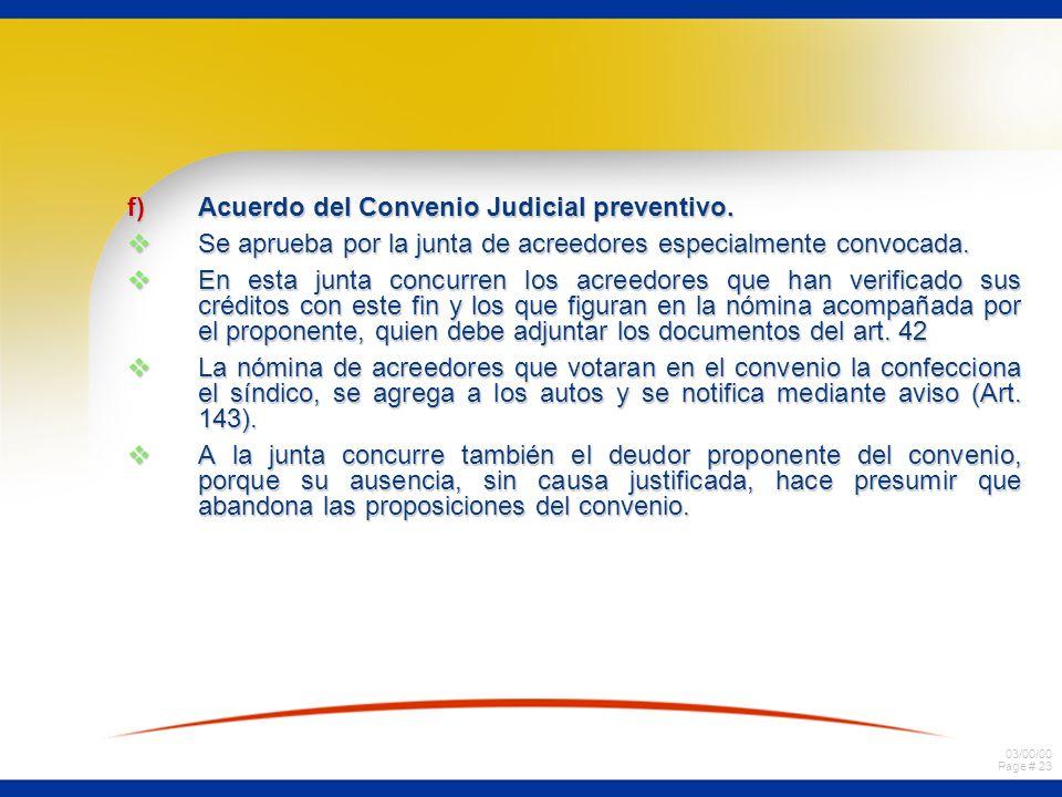 Acuerdo del Convenio Judicial preventivo.