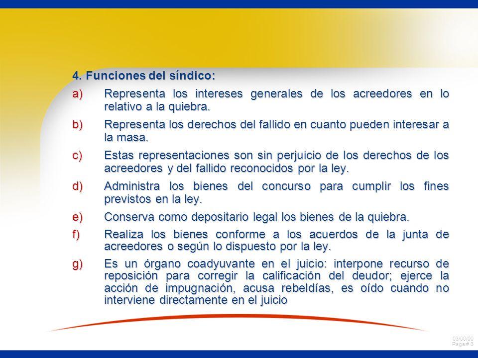 4. Funciones del síndico: