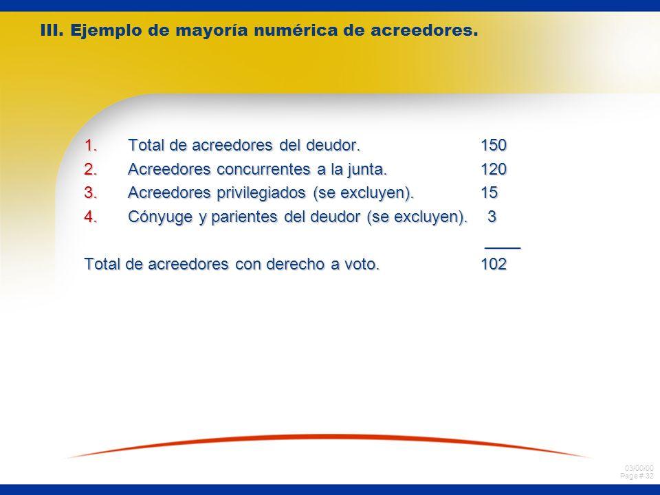 III. Ejemplo de mayoría numérica de acreedores.
