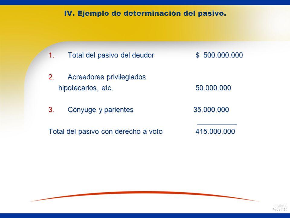 IV. Ejemplo de determinación del pasivo.