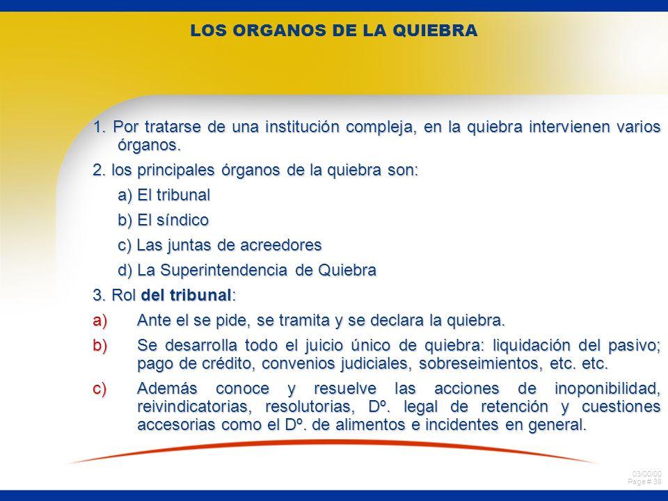 LOS ORGANOS DE LA QUIEBRA
