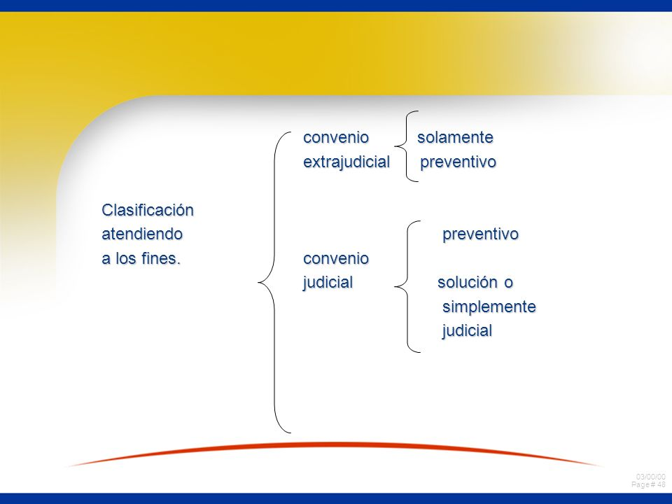 convenio solamente extrajudicial preventivo. Clasificación. atendiendo preventivo.