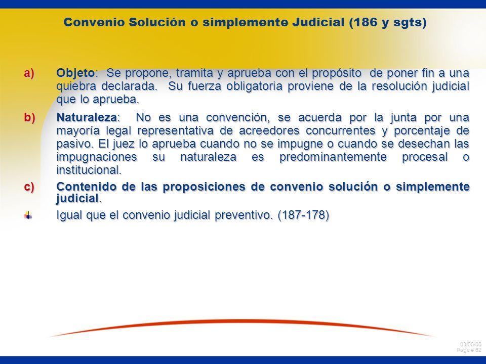 Convenio Solución o simplemente Judicial (186 y sgts)