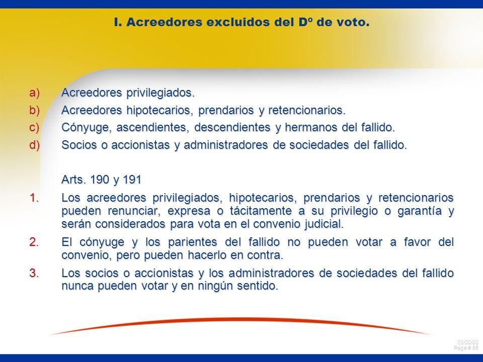 I. Acreedores excluidos del Dº de voto.