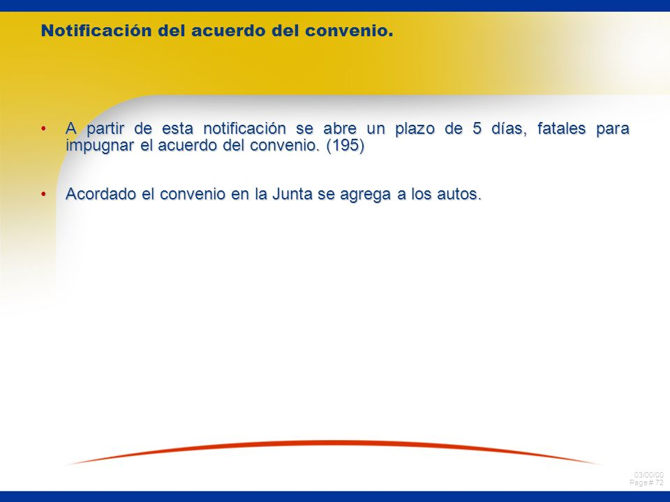 Notificación del acuerdo del convenio.