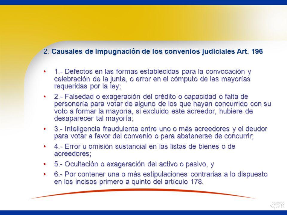 2. Causales de Impugnación de los convenios judiciales Art. 196