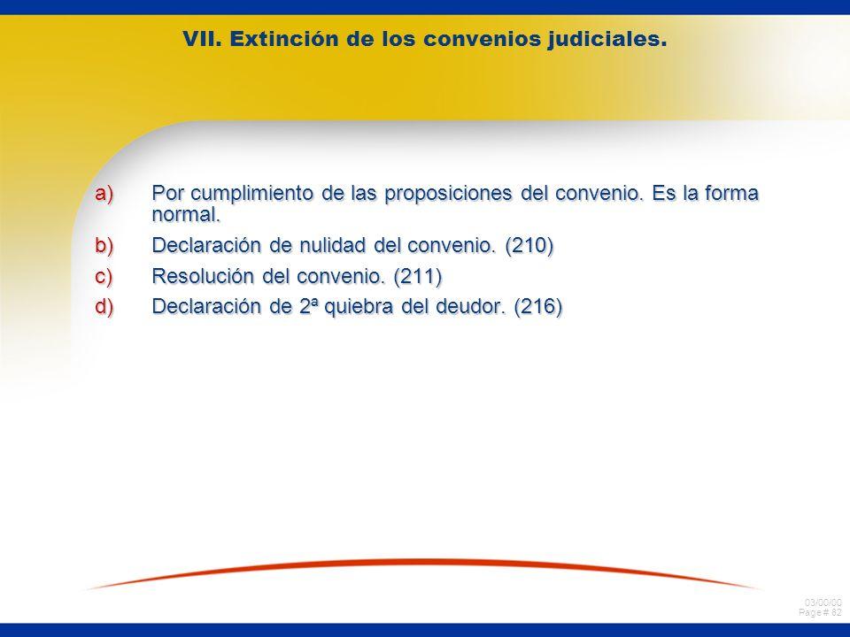 VII. Extinción de los convenios judiciales.