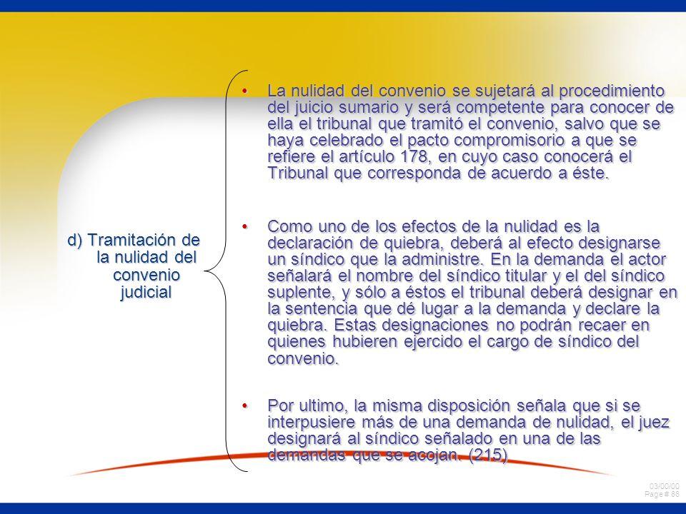 d) Tramitación de la nulidad del convenio judicial