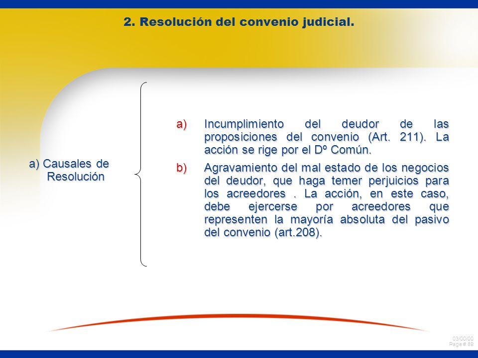 2. Resolución del convenio judicial.