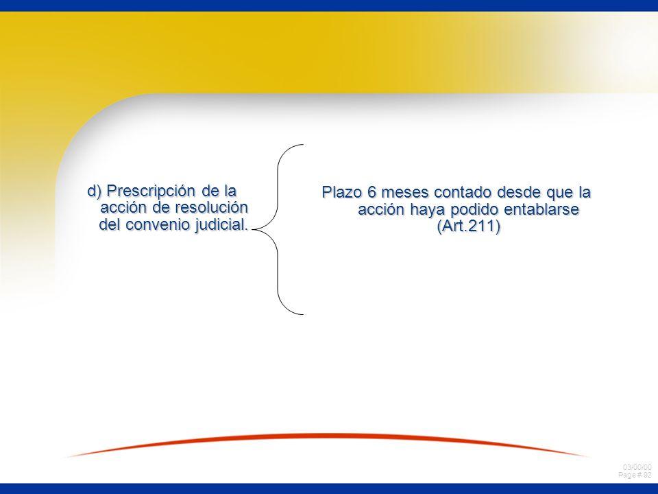 d) Prescripción de la acción de resolución del convenio judicial.