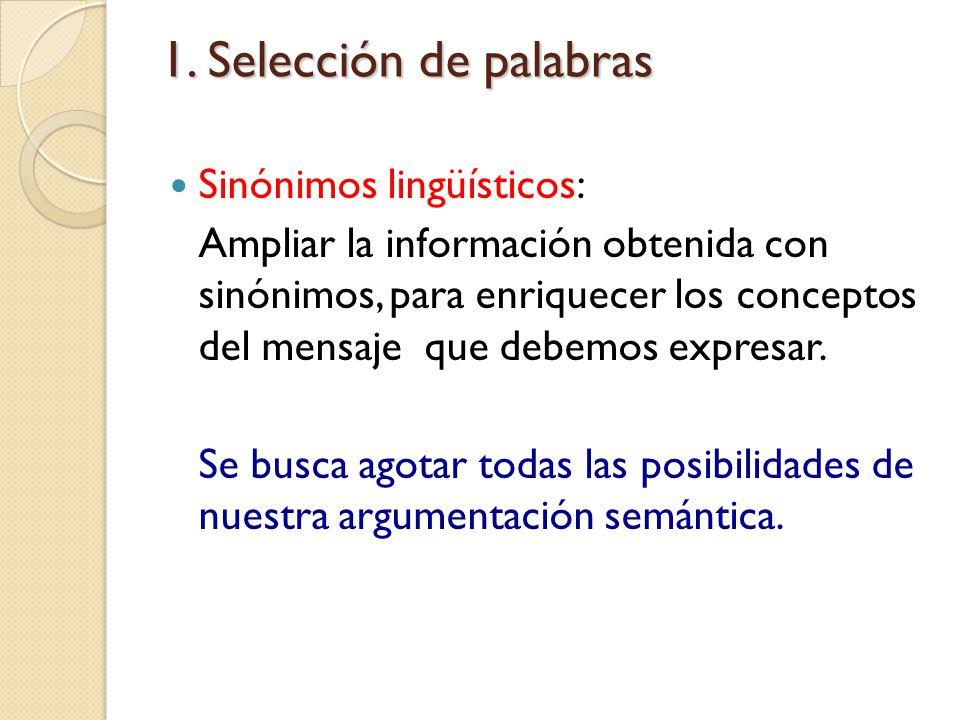 1. Selección de palabras Sinónimos lingüísticos: