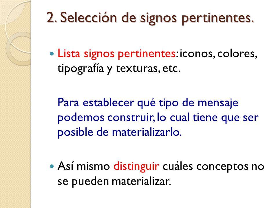 2. Selección de signos pertinentes.