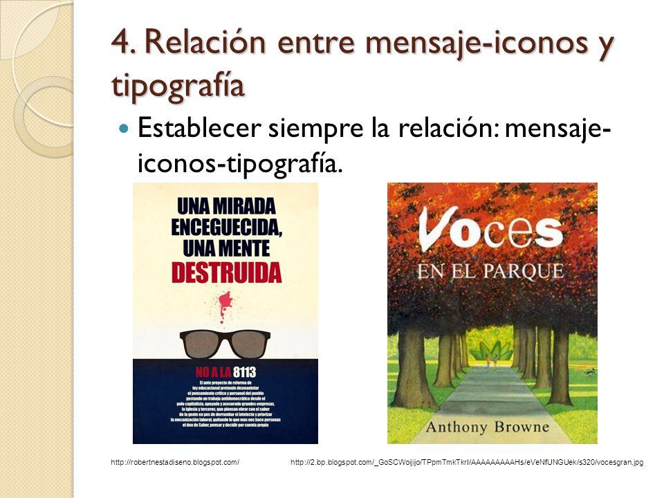 4. Relación entre mensaje-iconos y tipografía