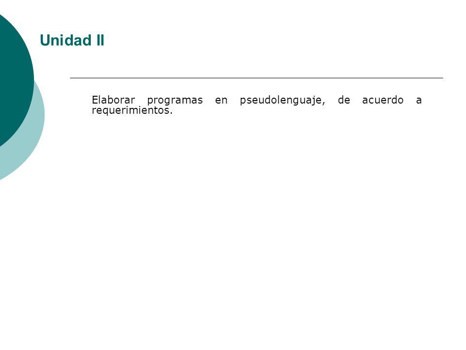 Unidad II Elaborar programas en pseudolenguaje, de acuerdo a requerimientos.