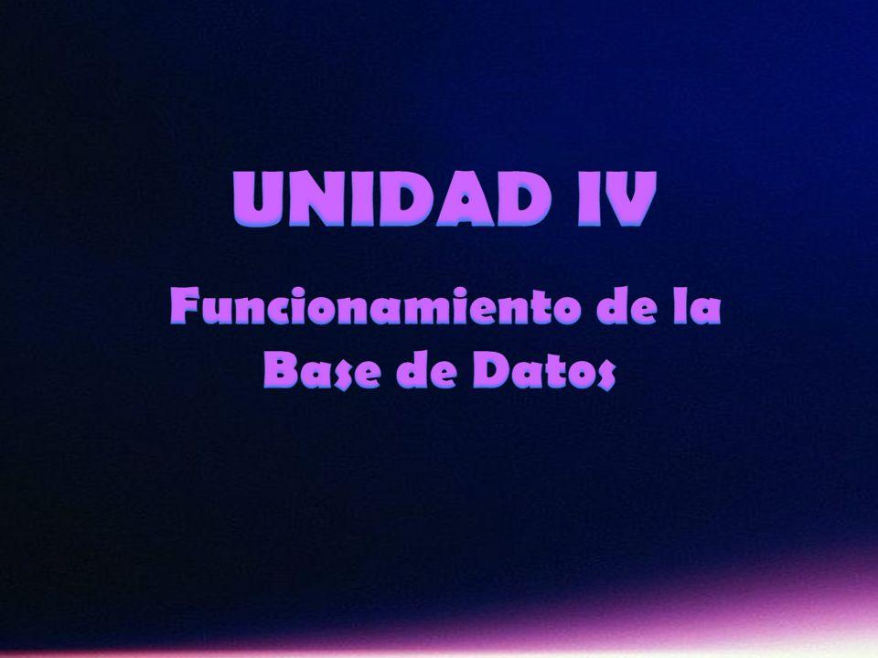 UNIDAD IV Funcionamiento de la Base de Datos