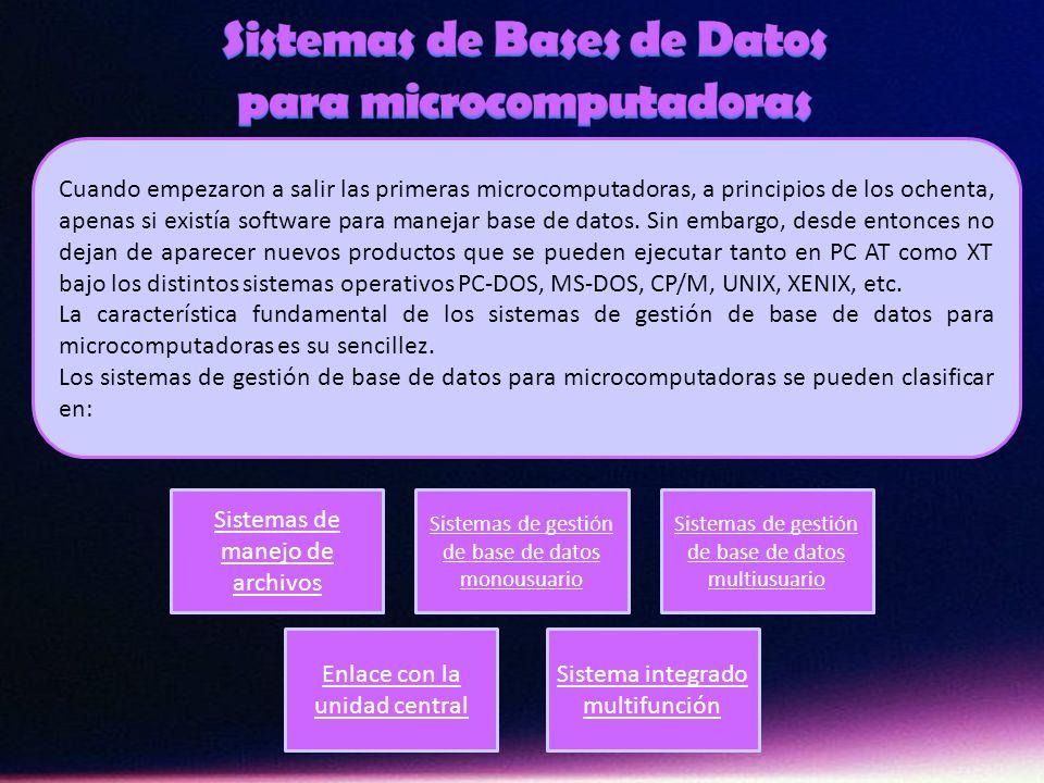 Sistemas de Bases de Datos para microcomputadoras