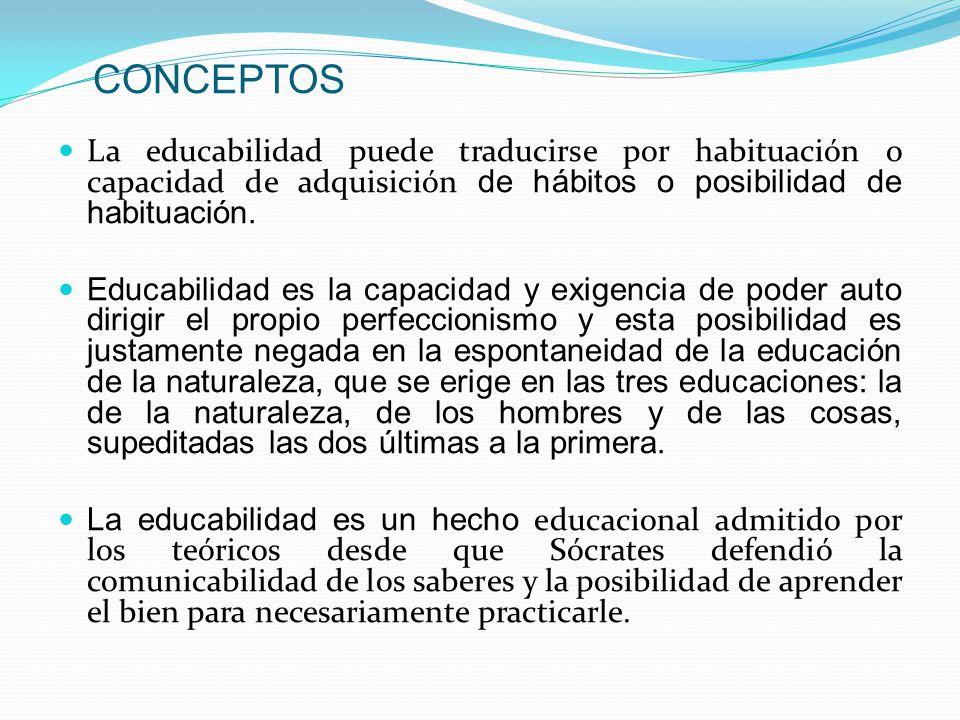CONCEPTOS La educabilidad puede traducirse por habituación o capacidad de adquisición de hábitos o posibilidad de habituación.