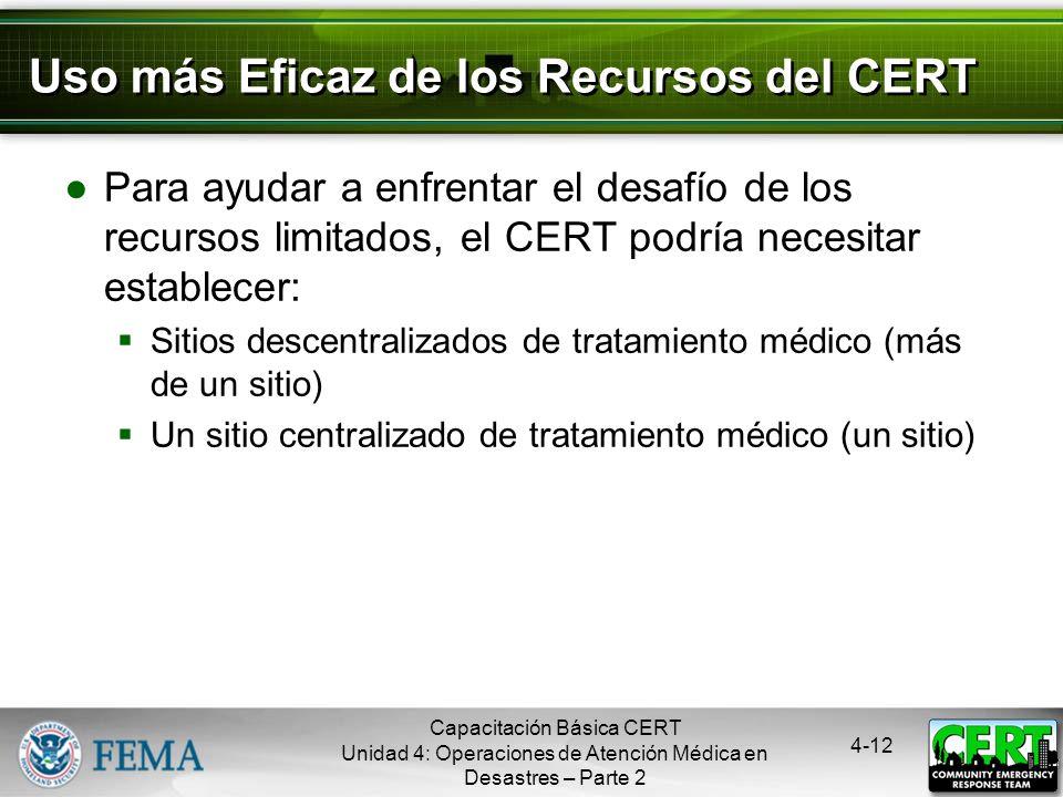 Uso más Eficaz de los Recursos del CERT