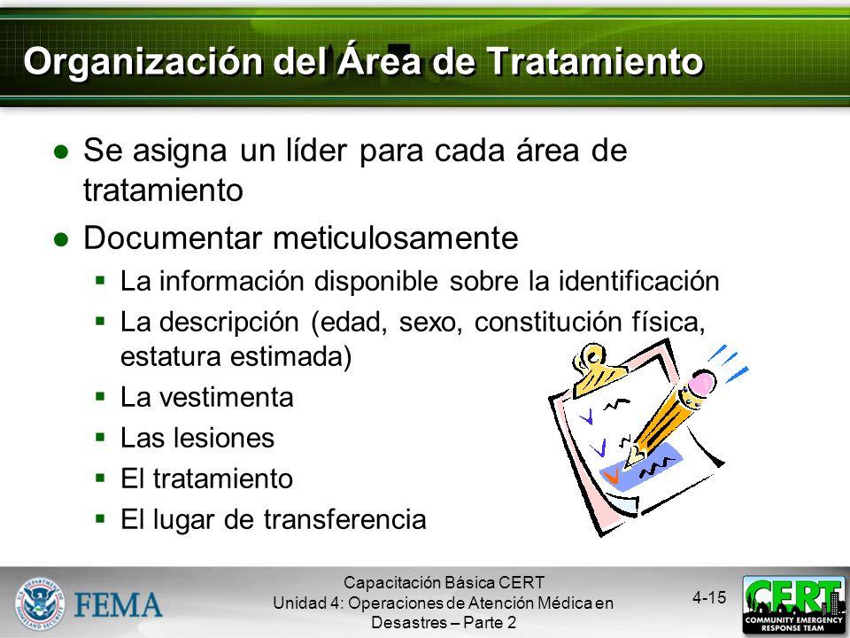 Organización del Área de Tratamiento